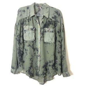 Free People Green and Black Tye Dye Blouse Size L